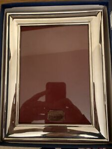 Beautiful Fine English Pewter Photo Frame, Burgundy Velvet, New Old Shop Stock