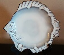White Glazed Dark Pottery Fish Serving Plate Brown Embossed Fins Eye