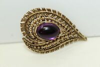 GORGEOUS Vintage Goldtone Purple Oval Cabochon Paisley Shaped Pin Brooch C#