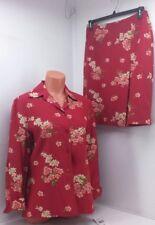 Jones New York Kensington Red Floral  Silk & Linen Jacket  & Skirt Suit. Sz 10.