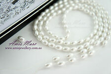 110pcs Beads 6x8mm White Color Oval Shape Imitation Acrylic Pearl Spacer