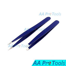 Professional Beauty Eyebrow Tweezers Slanted & Pointed Tips Hair Remover Blue