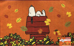 """Peanuts~Snoopy on his Doghouse~""""Enjoying Fall Days"""" Rug~20X32""""~NEW~FAST SHIPPING"""