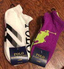 Lot Of Two Pk (8 Pairs)Polo Ralph Lauren women's no show White Black Pink Socks