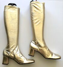 VINTAGE GOLD METALLIC GOGO BOOTS 6.5 7 BARBARELLA MOD DEADSTOCK COSTUME 1970's