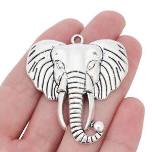 5 x Tibetan Silver Large Elephant Head Charms Pendants for Jewellery Making