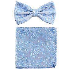 New formal Men's micro fiber pretied bow tie & hankie set paisley light blue