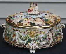 Capodimonte old mark N footed covered casserole serving dish cherub harvest