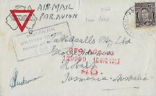 New Listing1943 Censored Airmail Cover fr Australian Soldier to Hobart, Tasmania, Australia