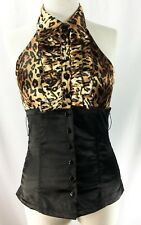 Leopard Animal Print Ruffled button up Blouse Peg Bundy Costume Shirt