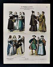1880 Braun Costume Print 16th 17th European Women Dress Dutch Bohemia France etc