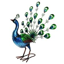Large 56cm Green Peacock Metal Garden Ornament Decorative Bird Sculpture  Statue