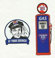 "2 X AMPOL ""PETROL BOWSER + SERVICE MAN"" VINYL DECAL STICKERS OIL GAS"