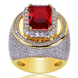 Mens Luxury 18k Gold Plated Ruby Stone Rings Wedding Party Rings Gift Size 6-10