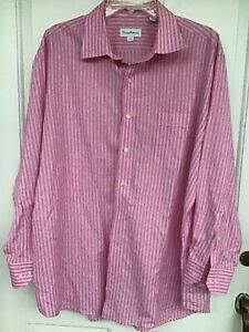 Tommy Bahama men's pink and white striped dress shirt size 17.5 32/33, 100% Cott