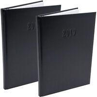 2x Chefplaner Buch Kalender XL Schwarz Kunstleder 2019 Timer ca. A4 Terminplaner