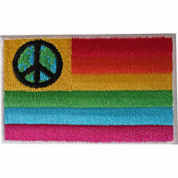 Peace Symbol Sign Rainbow Flag Patch Iron On Sew On Embroidered Badge Gay Pride