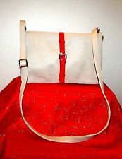 FOREVER 21 IVORY/PATENT RED ADJUSTABLE CROSSBODY/CLUTCH SHOULD BAG 8.5HX12L EUC