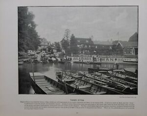 1896 LONDON PRINT + TEXT THAMES DITTON THE SWAN HOTEL