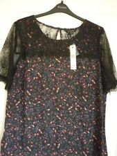 d6deb911a18e70 Long Tall Sally Black Multi Floral Lace Detail Top. UK 20 EUR 48 US 16