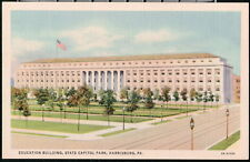 HARRISBURG PA State Capitol Park Education Building Vintage Linen Postcard Old