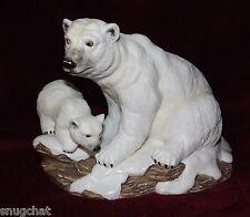 """Polar Bear Mother & Cub Figurine Snow Covered Ground 6"""" Tall on 8"""" x 5"""" Base"""