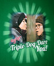 Christmas Story The Movie Triple Dog Dare You! Flag Pole T-Shirt New Sz Med