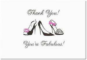 Black Stiletto Fuchsia Glitter Bridal Shower Wedding Thank You Notes 50/pk