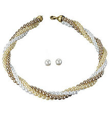 New Avon JULIE GIFT SET Pearl Cluster Necklace & Earrings - White, Ivory, Bronze