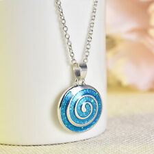 Gifts Women Fashion Jewelry Blue Fire Opal Inlay Silver Jewelry Necklace Pendant