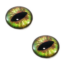 Pair of 30mm Green and Brown Dragon or Cat Glass Eyes for Jewelry or Doll Making