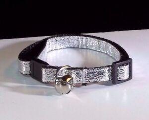 Silver kitty Cat Breakaway Safety Collar Cute Bell metallic adjustable USA made!