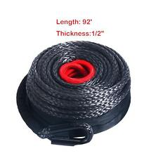 92ft x 1/2 Black Synthetic Winch Rope Line Cable 20500Lbs w/ Protective Sleeve