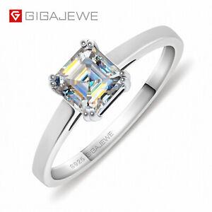 0.8ct 5.5mm EF Asscher 18K White Gold Plated 925 Silver Moissanite Ring Diamond