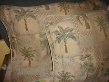JCP PENNEY KIMLOR PALM GROVE TREES KARIN MAKI (PAIR) KING PILLOWS SHAMS GREEN