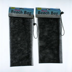 Lot of 2 Black Mesh Beach Bag With Drawstring Party Favors