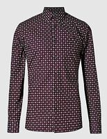 EX M&S Marks And Spencer Pure Cotton Tailored Fit Abstract Print Shirt