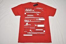 NWT NEW Mens Sean John T-Shirt Lines Print Graphic Tee Red Urban Size M N411