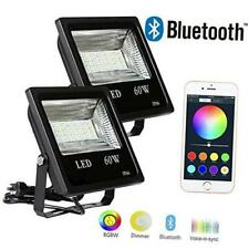 Hypergiant 2 Pack 60W Bluetooth Led RGBW Flood Lights, Outdoor Color Changing Fl