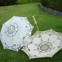 Lace Embroidered Sun Parasol Umbrella Bridal Wedding Dancing Party Photo Show US