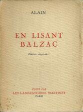 PHILOSOPHIE - LITTERATURE FRANCAISE / ALAIN : EN LISANT BALZAC - ED. ORIGINALE