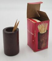 Vintage Wooden Toothpick Holder Made In Taiwan Original Packaging