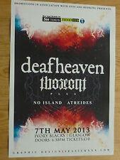 Deafheaven + The Secret, No Island,Atreides Glasgow 2013 tour concert gig poster