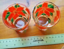 2 rustic handmade Christmas Poinsettia Stained Glass VOTIVES Tea Light Holders