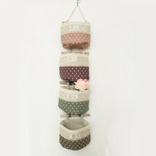 4 Pieces Cute Foldable Cotton Linen Wall Hanging Storage Bag Home Collection