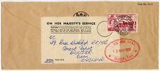 GIBRALTAR RAF FPO OFFICIAL ENVELOPE + OHMS LABEL + GRN. WKSP. R.E.M.E OVAL 1956