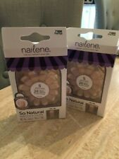 TWO (2) Nailene Pink French Tip Express Press On Nails SHORT 12 Size 28 per box