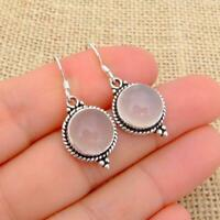 Rose Quartz 925 Sterling Silver Round Drop Earrings Indian Jewellery