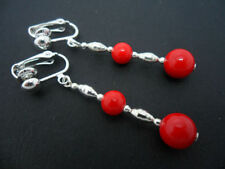 Handmade Silver Plated Drop/Dangle Coral Costume Earrings