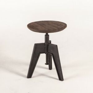 """24"""" Set of 2 Band Saw Stool Adjustable Height Wooden Seat Industrial Metal Base"""